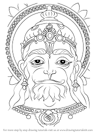 learn how to draw hanuman face hinduism step by step drawing