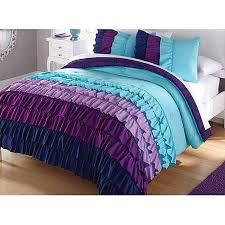 aqua ruffle comforter 3pc girl teal purple ruffle full queen comforter set the kids room
