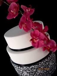 fondant wedding cake black white pink damask orchid lexington ky