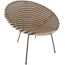 Mid Century Modern Patio Furniture Mid Century Modern Vinyl And Iron Woven Womb Chair At 1stdibs
