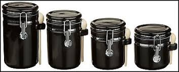 black canisters for kitchen set ceramic canister kitchen 4 storage 4 black sugar coffee