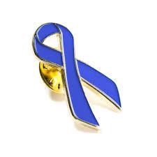 blue and yellow ribbon blue lapel pin men s health awareness