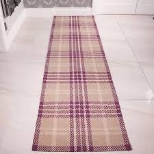 Thin Runner Rug Purple Heather Tartan Wool Runner Rug Thin Flatweave Long Narrow