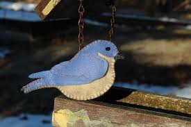 arrival of the bluebird felt ornament downeast thunder farm