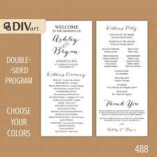 wedding program dimensions printable 4x9 wedding program sided simple and