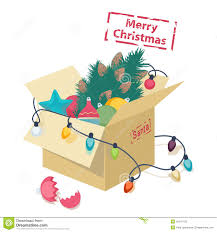 cardboard box with christmas decorations stock vector image