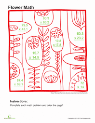 multiply decimals and color 1 worksheet education com