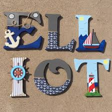 Nautical Decoration by Nautical Wooden Letters Nautical Nursery Decor Nautical