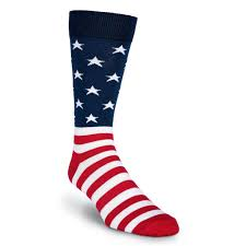 Blue White And Red Flags Mens K Bell Made In America Novelty Crew Socks American Flag