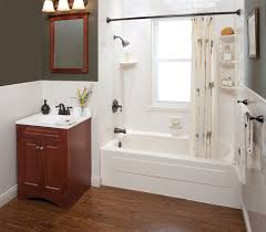 contemporary small bathroom design featuring shower stall with