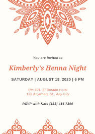 henna invitation orange and henna mehendi invitation templates by canva