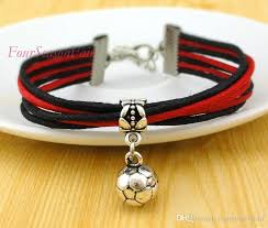 silver rope charm bracelet images Custom jewelry soccer leather rope bracelet infinity football jpg