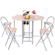 costway 5pc foldable dining set table and 4 chairs breakfast