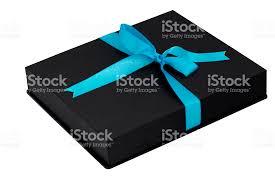black and blue ribbon black gift box with blue ribbon on white background stock photo