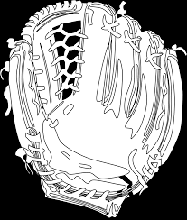 baseball glove black white line sheet page coloring book colouring