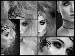 black and white image mosaic halloween makeup on beautiful young