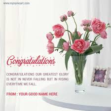 congratulations promotion card congratulations flower bouquet card with dear name wishes