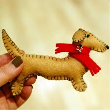 dachshund felt ornaments spabettie