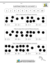 subtraction to 10 worksheets