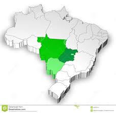 Blank Map Of Brazil by Three Dimensional Map Of Brazil With Midwest Area Stock Image