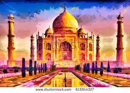 paint places taj mahal palace colorful oil painting stock illustration