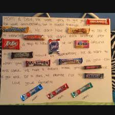 parents anniversary gift ideas poster board candy bars and a creativity make a