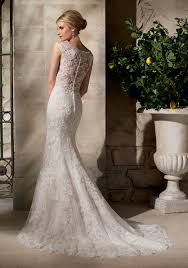Lace Wedding Dress Embroidered Appliques On Net Over Chantilly Lace With Crystal