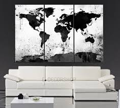 large black white world map canvas print 3 piece watercolor large black white world map canvas print 3 piece watercolor splash map large canvas wall