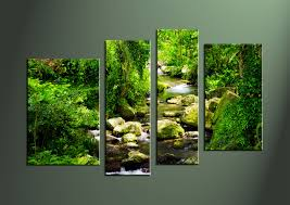 4 piece ocean canvas green huge pictures