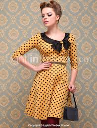 yellow black polka dot vintage style dress pinup vintage