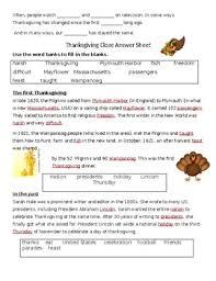 thanksgiving cloze by brenda link teachers pay teachers