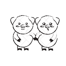 couple pig sketch icons by canva
