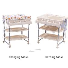 rolling baby changing table 2 in 1 baby bath tub rolling unit station storage trays changing