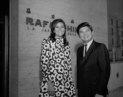 Barnes Los Angeles Miss America Debra Barnes And Mike Yamano In Front Of