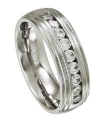 Stainless Steel Wedding Rings by Stainless Steel Wedding Band Satin Finish With Grooved Edges