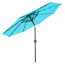 Lighted Patio Umbrella Trademark Innovations 9 Ft Deluxe Solar Powered Led Lighted Patio
