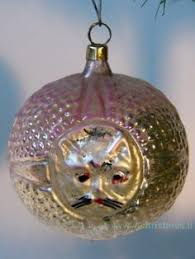 shavel blown glass ornament silver white cat shavel