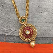 small ball pendant necklace images Round pendant with small ball chain multi string necklace JPG