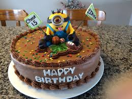 Minion Cake Decorations Minion Sports Birthday Cake 12 Inch Chocolate Cake With Chocolte
