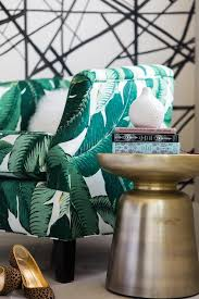Banana Leaf Armchair Banana Leaf Print Accent Chair With Gold Stool Table