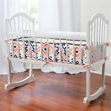 Navy And Coral Baby Bedding Cradle Bedding Sets Designer Cradle Bedding Collections By