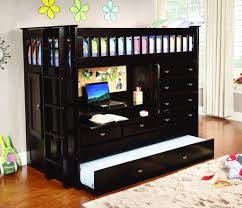 Black Bunk Bed With Desk Black Wooden Bunk Bed With Desk And Padded Rugs Home Improvement