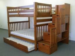 bedkings full over full with twin trundle and stairway bunk bed