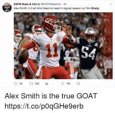 Alex Smith Meme - espn stats info 4h alex smith 2 0 all time head to head in regular