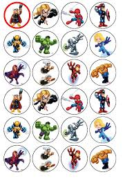 marvel cake toppers 24 x marvel superheroes squad edible rice wafer paper
