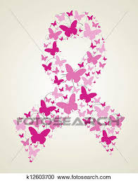 clipart of butterfly in breast cancer awareness ribbon k12603700