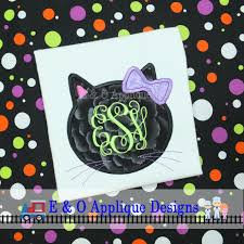 cat monogram frame embroidery design halloween applique design