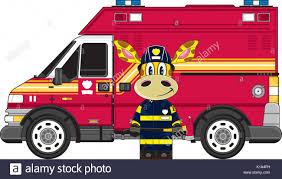 cute cartoon giraffe fireman firefighter fire truck vector