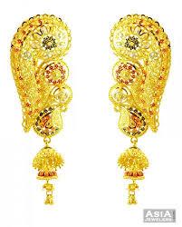 big jhumka gold earrings 22k traditional jhumka earrings ajer57622 22k gold exclusive