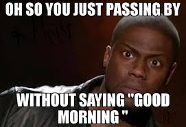 oh so you just passing by without saying good morning meme